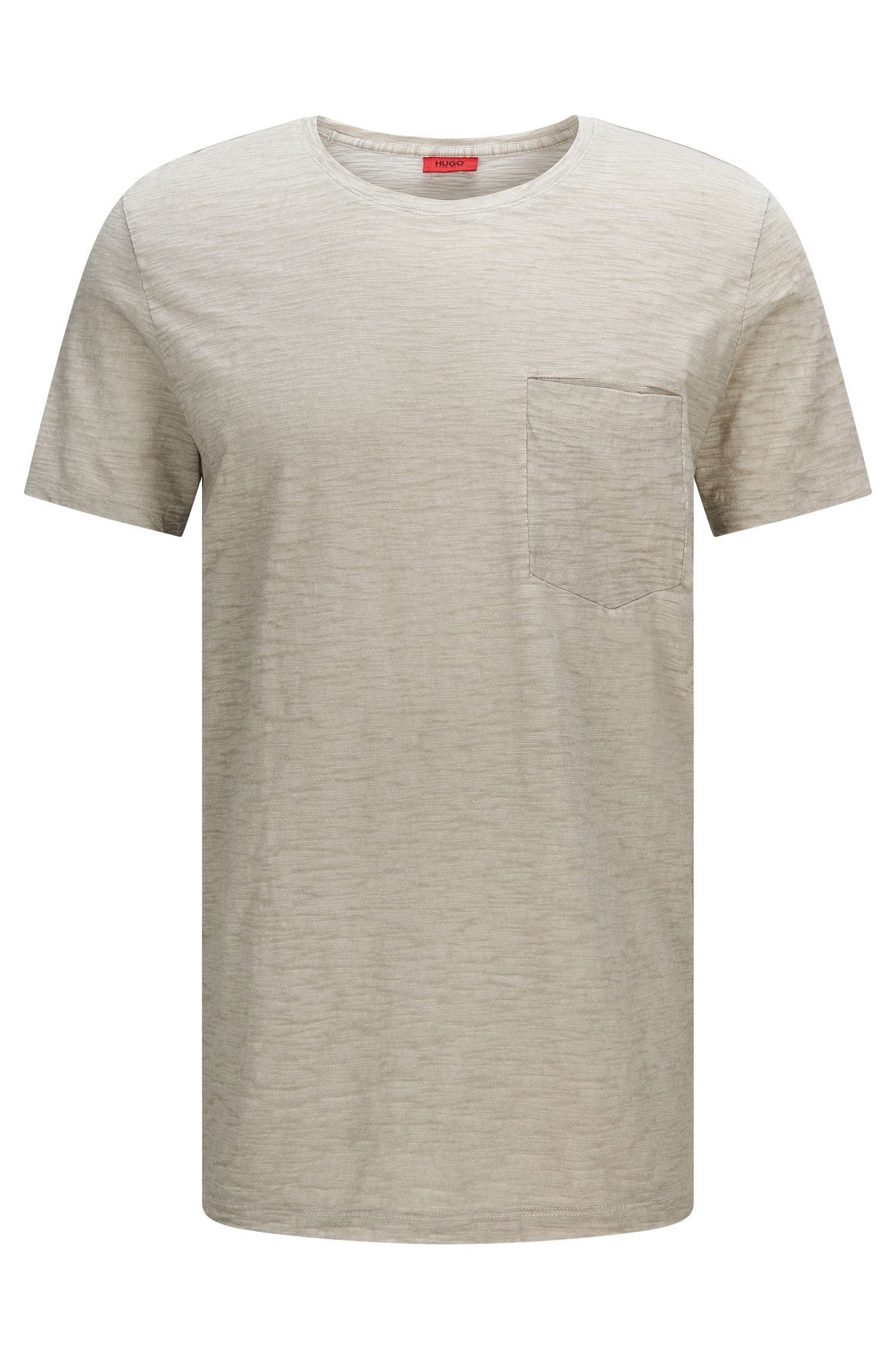 Mottled relaxed-fit cotton t-shirt with breast pocket: 'Dadobe'