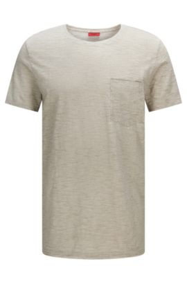 Mottled relaxed-fit cotton t-shirt with breast pocket: 'Dadobe', Grey