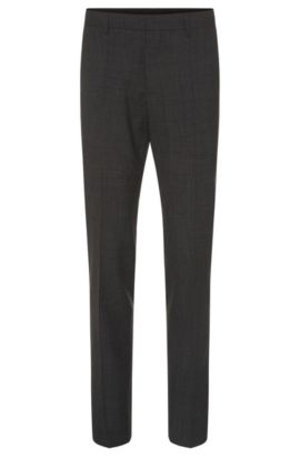 Finely checked slim-fit trousers in new wool: 'Genesis2', Anthracite