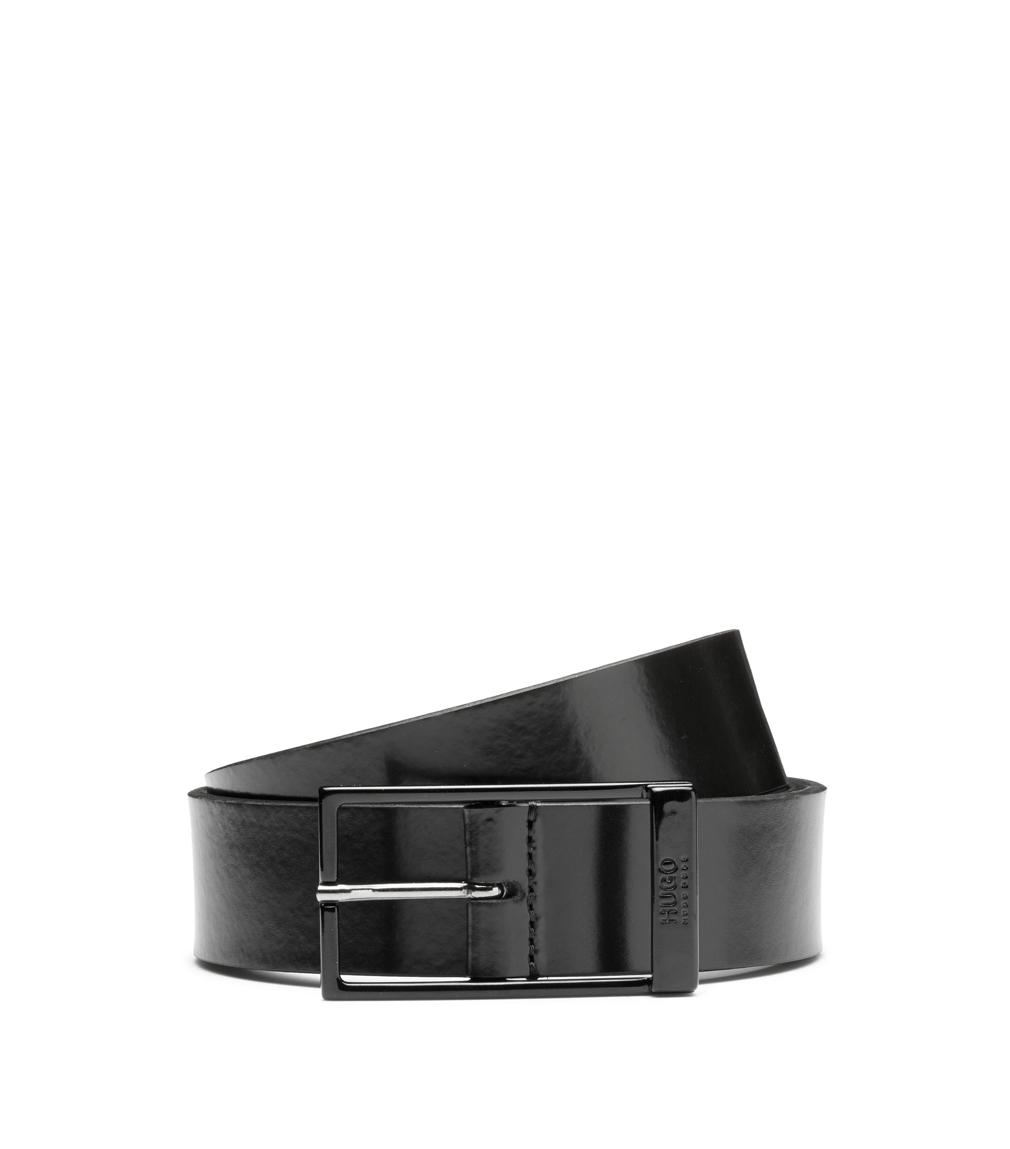 Italian-leather belt with black-varnished hardware, Black