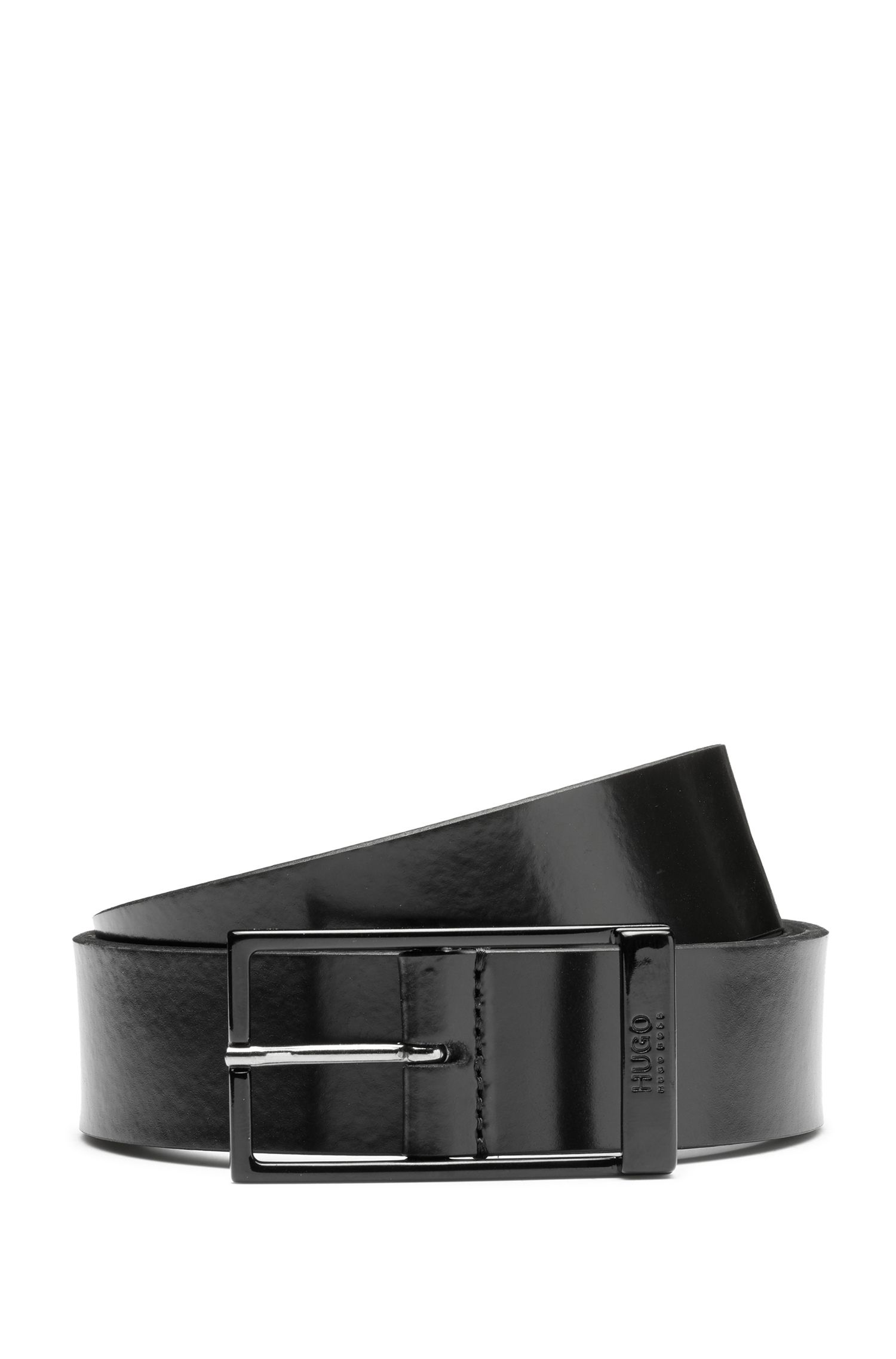 Italian-leather belt with black-varnished hardware