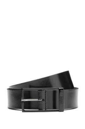 Gürtel aus Leder mit geschwärzter Schnalle: 'Gavino_Sz30_ltpl', Schwarz