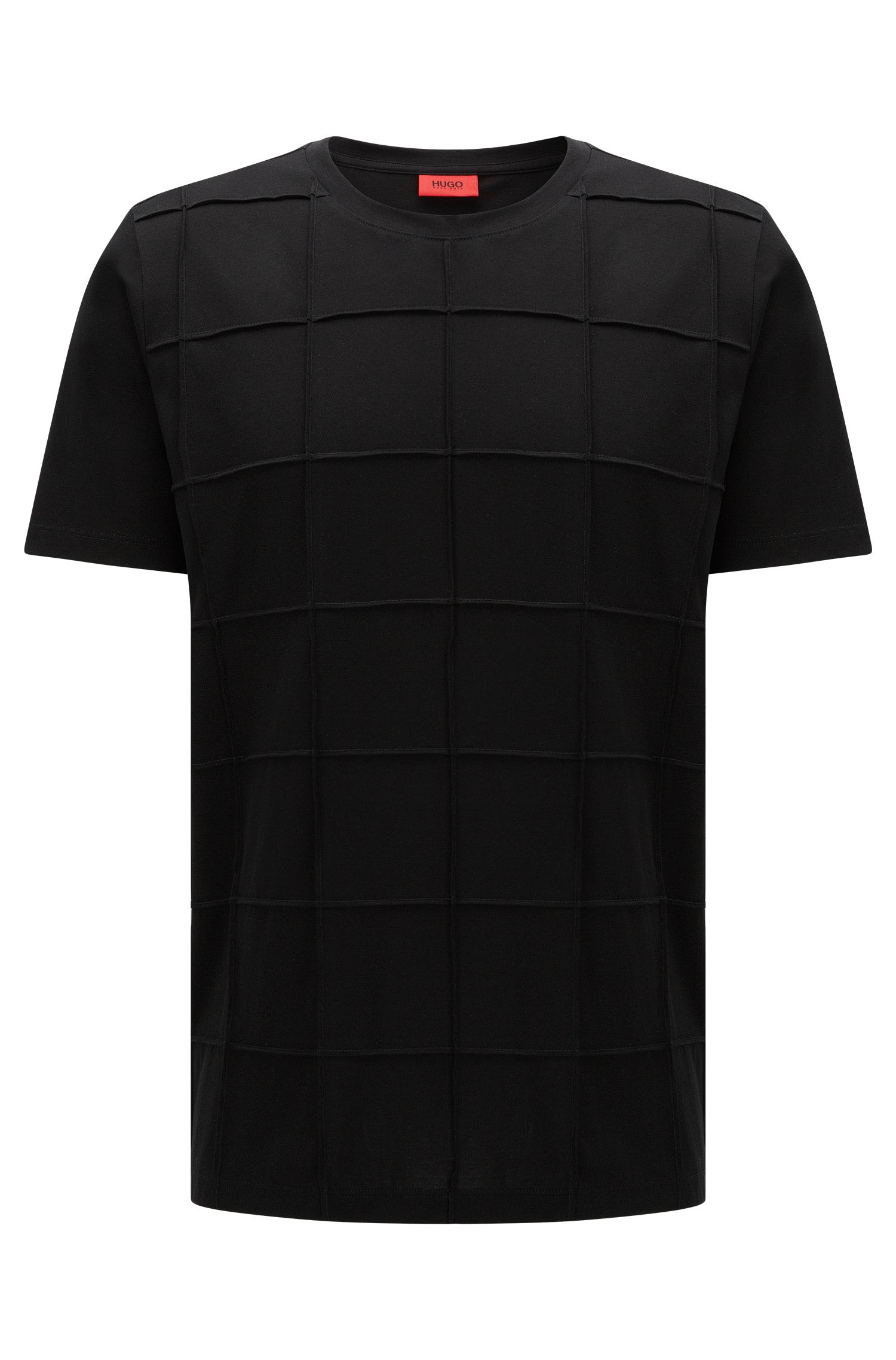 T-shirt Relaxed Fit en coton Pima à carreaux en patchwork: «Devy»