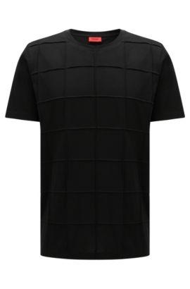 Relaxed-fit T-shirt van pimakatoen met patchworkruiten: 'Devy', Zwart