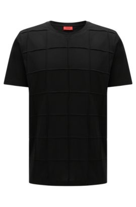 Relaxed-fit t-shirt in pima cotton with patchwork checks: 'Devy', Black