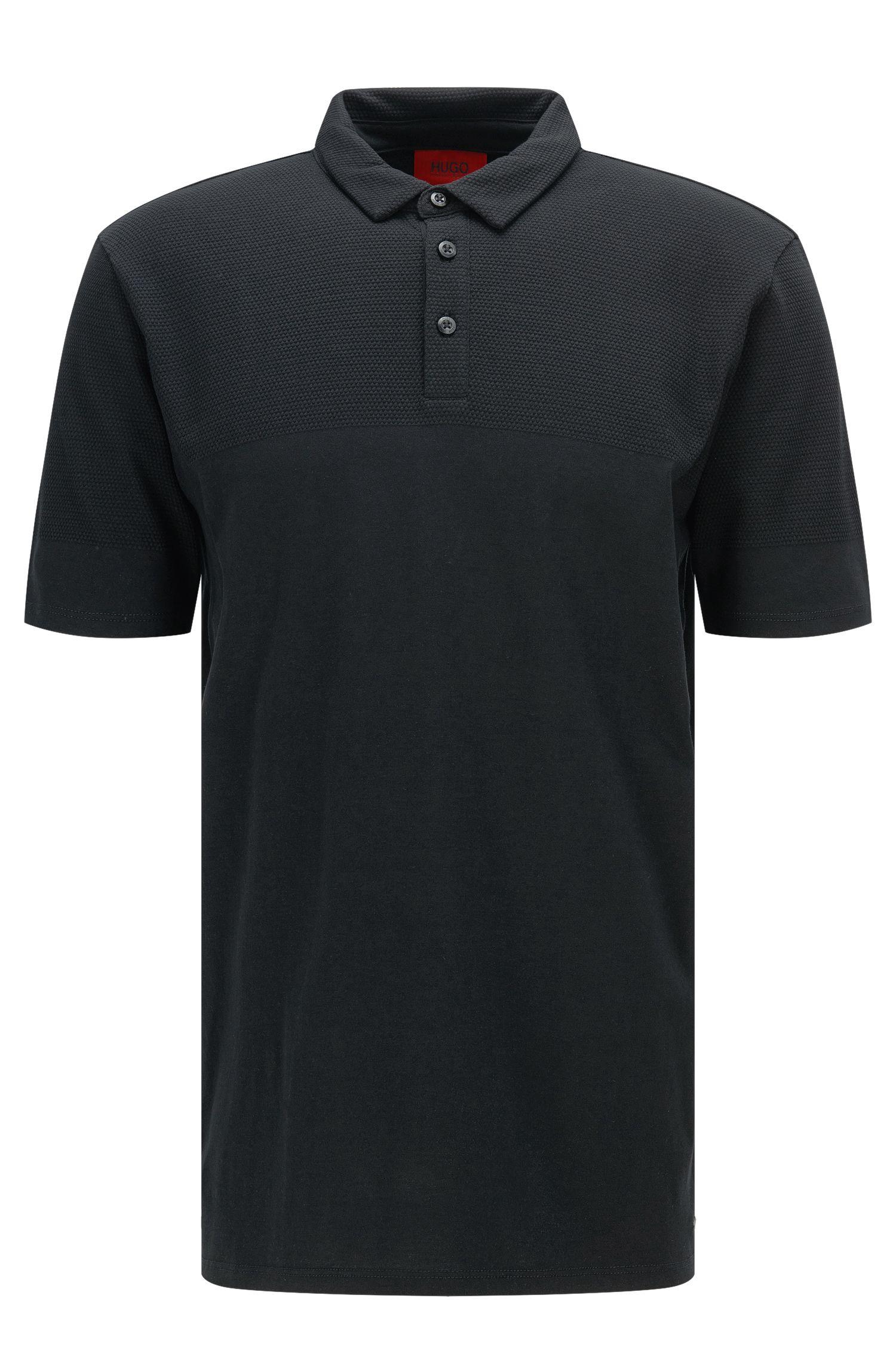 Regular-Fit Polo-Shirt aus Pima-Baumwolle im Struktur-Mix: 'Donsini'