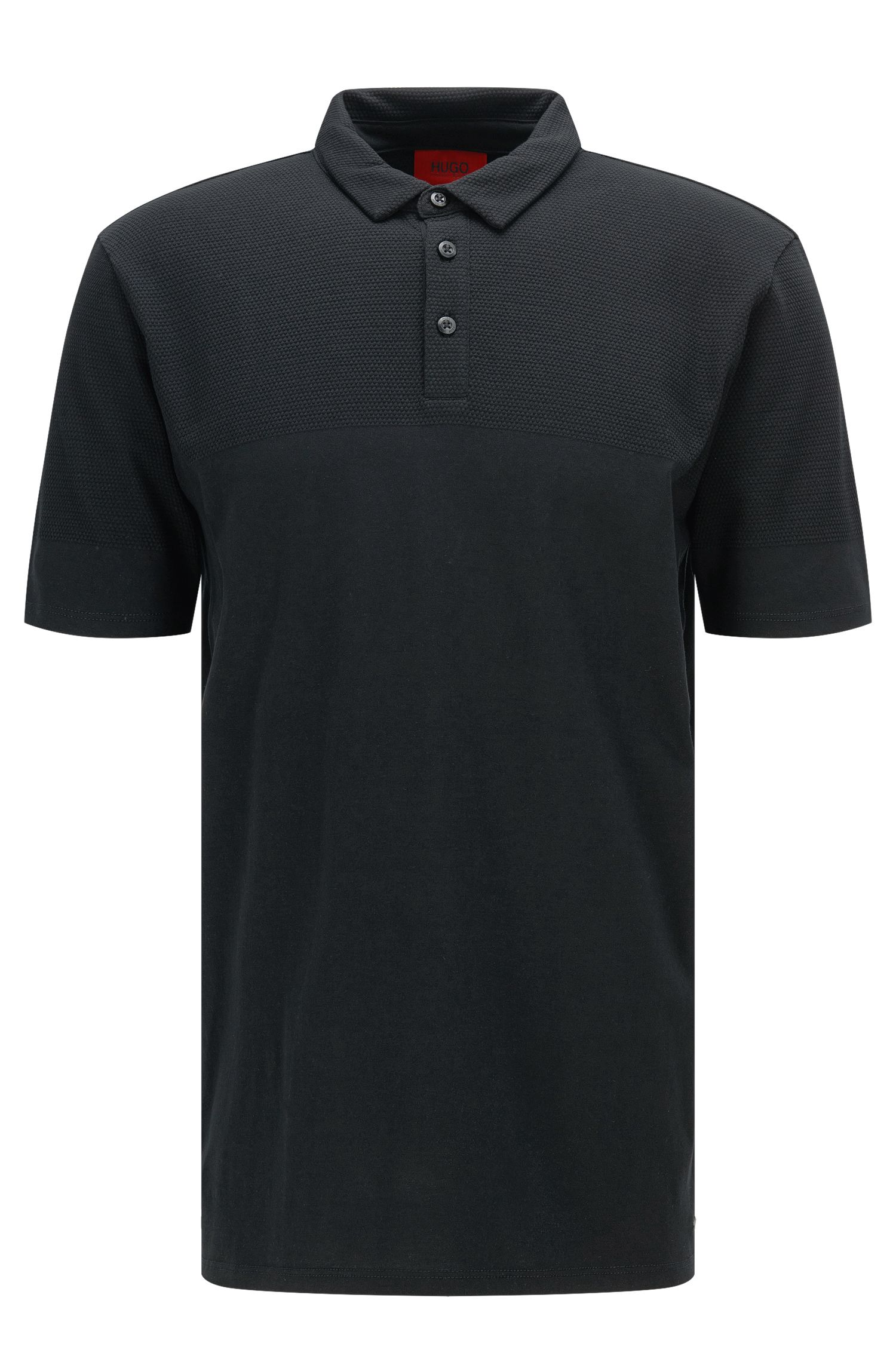 Regular-fit polo shirt made from pima cotton in a mixture of textures: 'Donsini'