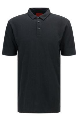 Regular-Fit Polo-Shirt aus Pima-Baumwolle im Struktur-Mix: 'Donsini', Schwarz
