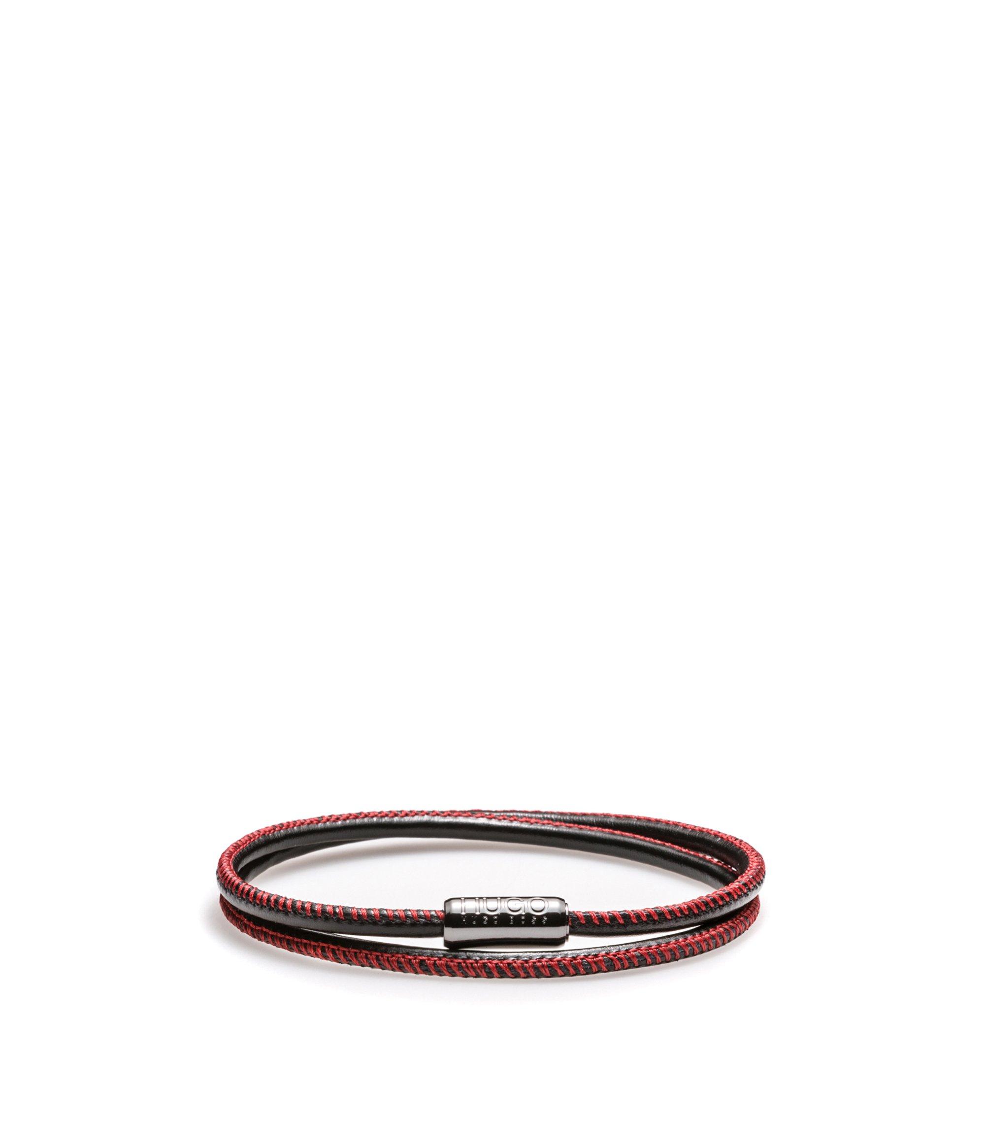 Armband aus italienischem Leder mit magnetischem Druckknopf, Gemustert