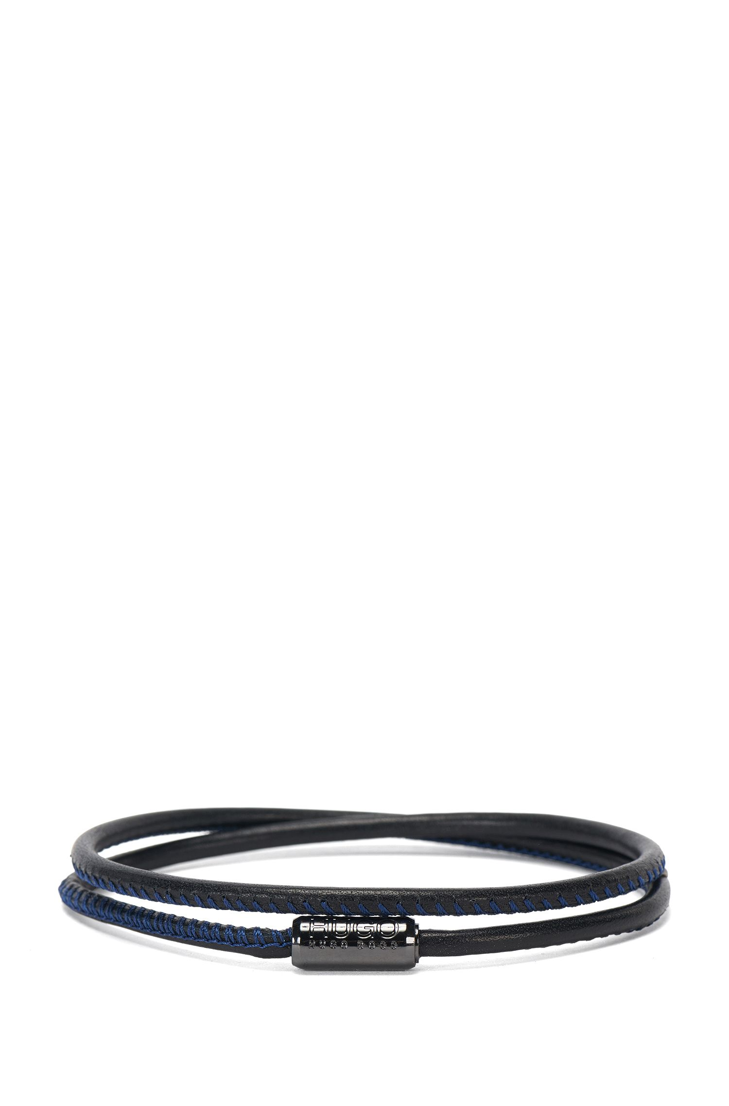 Leather wrap bracelet with magnetic fastening: 'E-Element1'