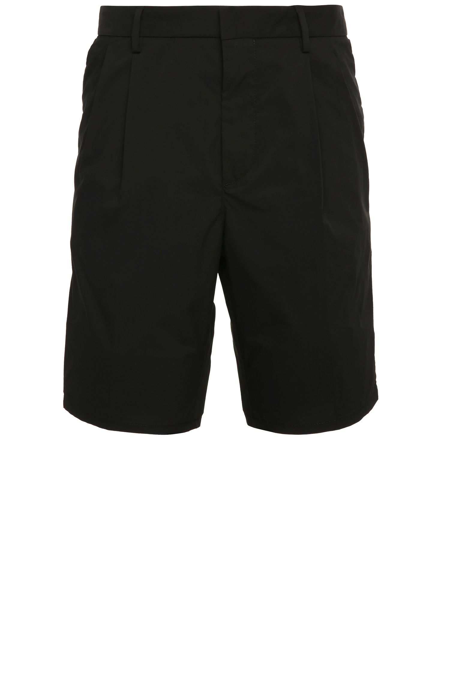 Plain-coloured tapered-fit Bermuda shorts in cotton blend: 'Greyson-Shorts'