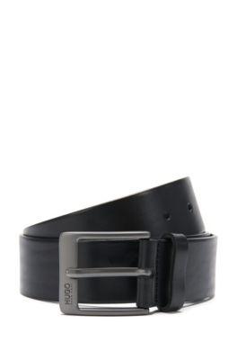 Ledergürtel mit metallener Dornschließe, Schwarz