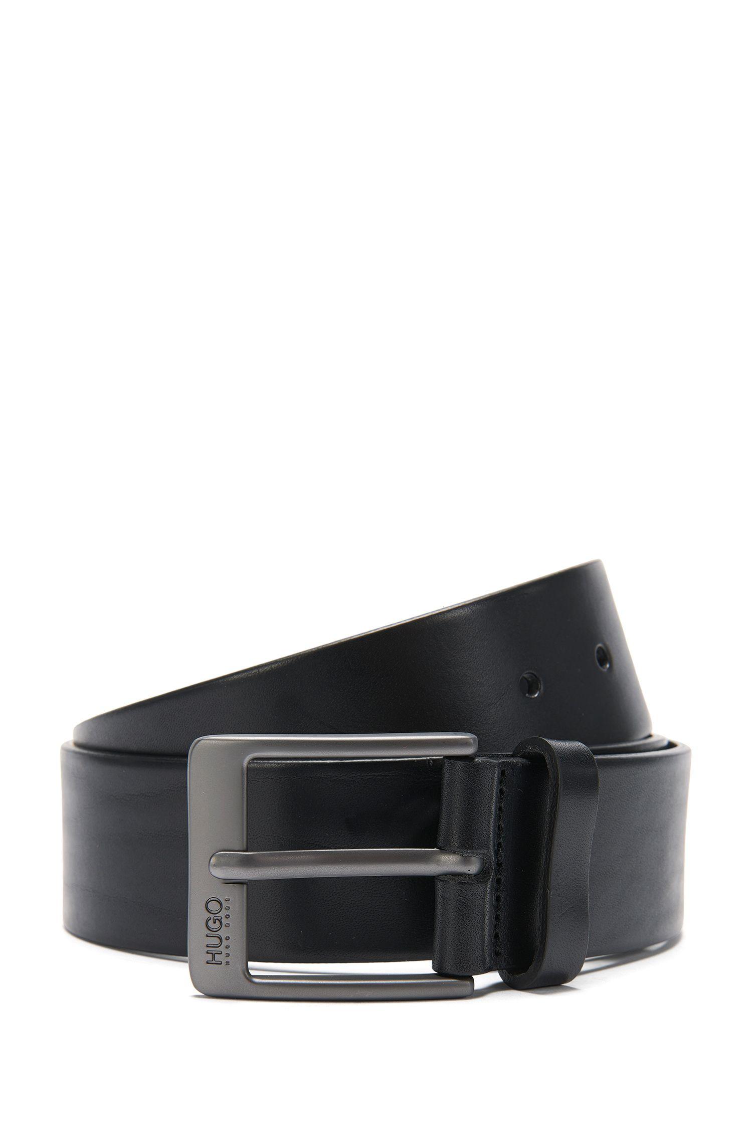 Leather belt with matt gunmetal pin buckle