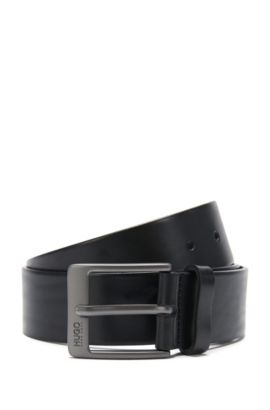 Leather belt with matt gunmetal pin buckle, Black