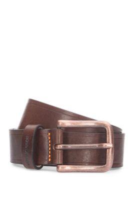 Leather belt with grain: 'Jeny_Sz35_ltpl', Dark Brown