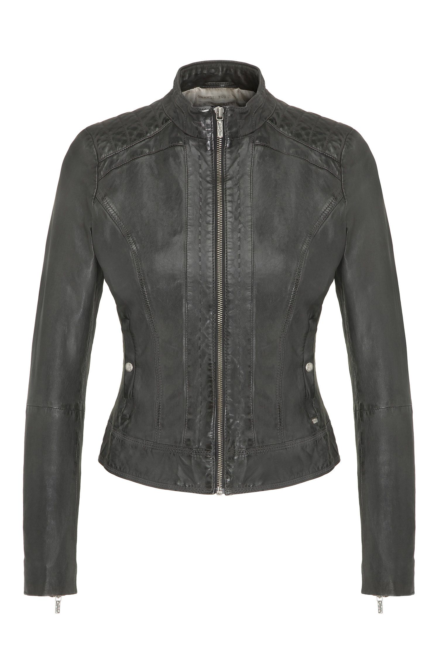 Slim-fit biker jacket in nappa leather