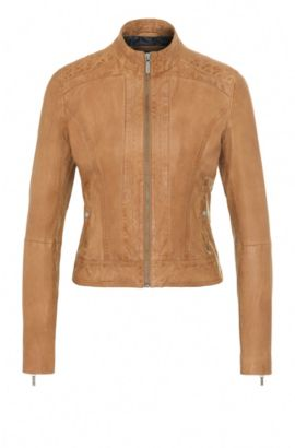Slim-fit biker jacket in nappa leather, Light Brown