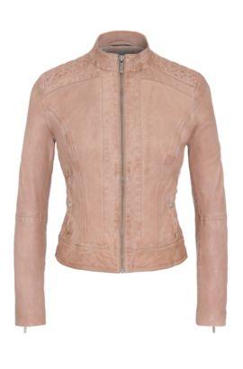 Slim-fit biker jacket in nappa leather, Light Brown