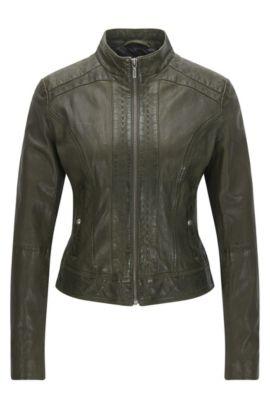 Slim-fit biker jacket in nappa leather, Khaki