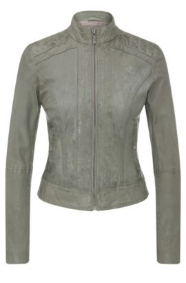 Slim-fit biker jacket in nappa leather, Khaki