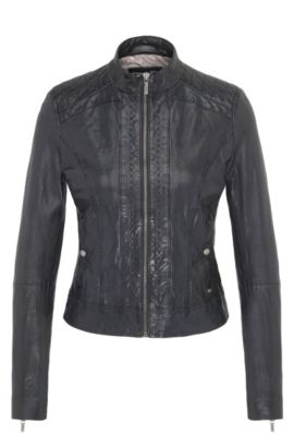Slim-fit biker jacket in nappa leather, Dark Blue