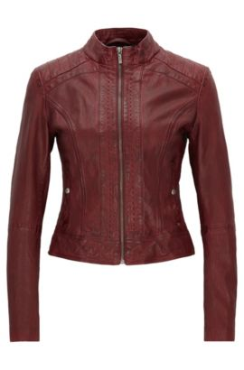 Slim-fit biker jacket in nappa leather, Dark Red