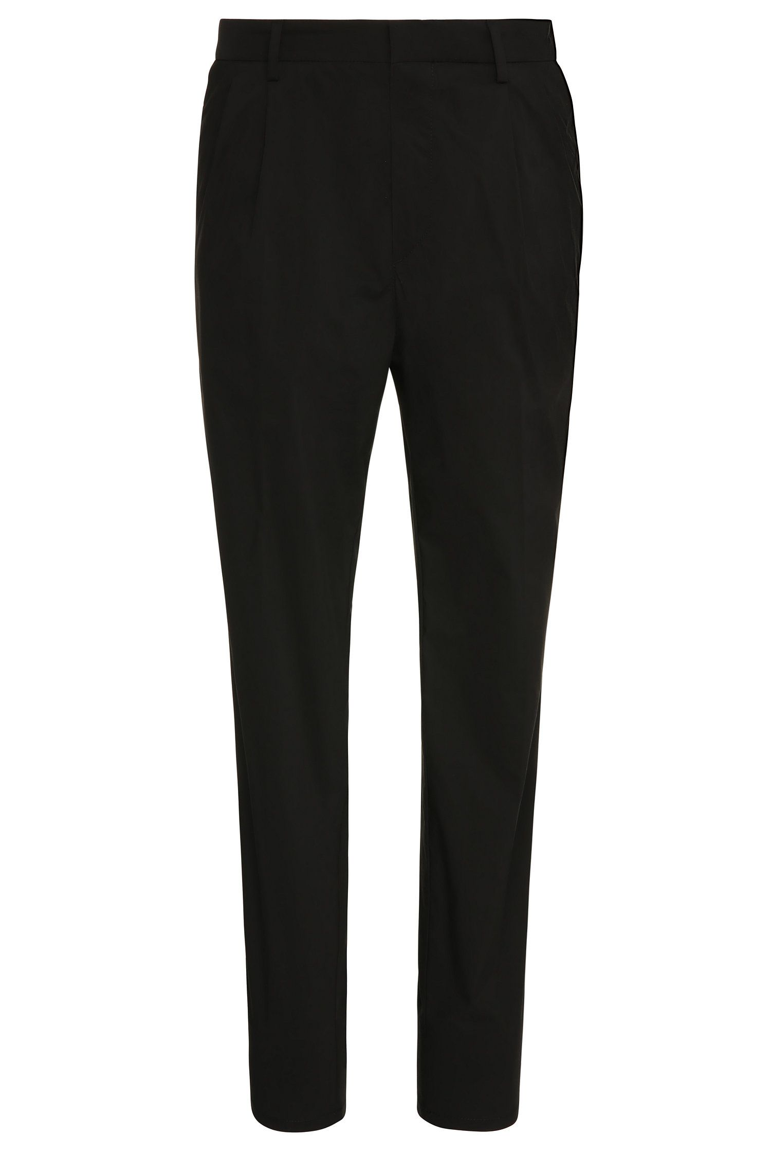 Tapered-fit trousers in cotton blend with waist pleats: 'Greyson'