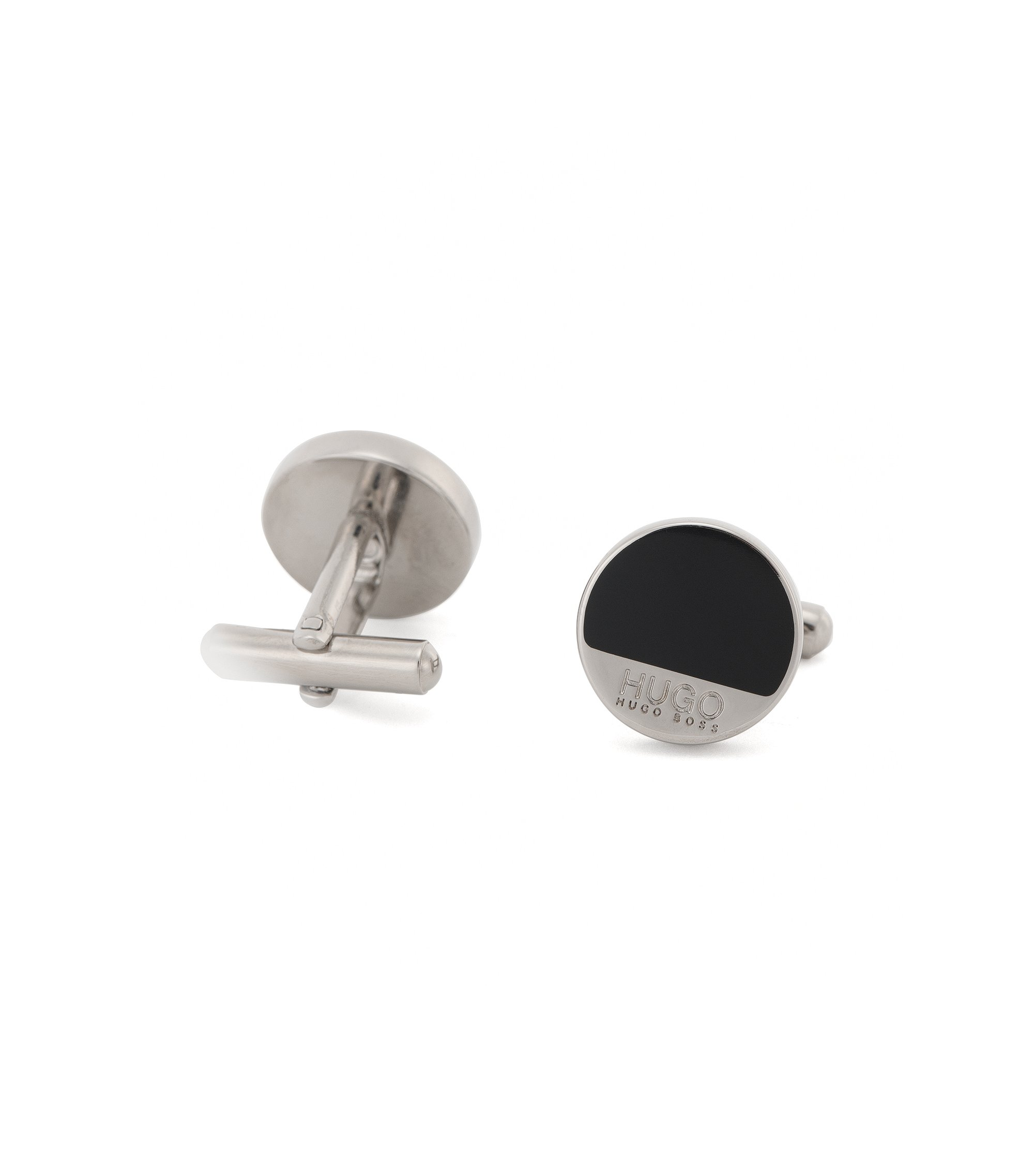 Round brass cufflinks with enamel detail, Black