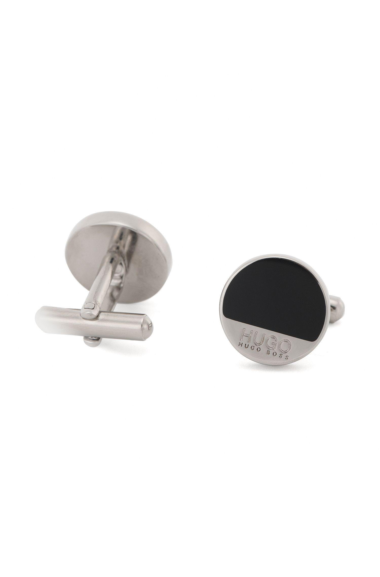 Runde Manschettenknöpfe aus Messing mit Emaille-Detail