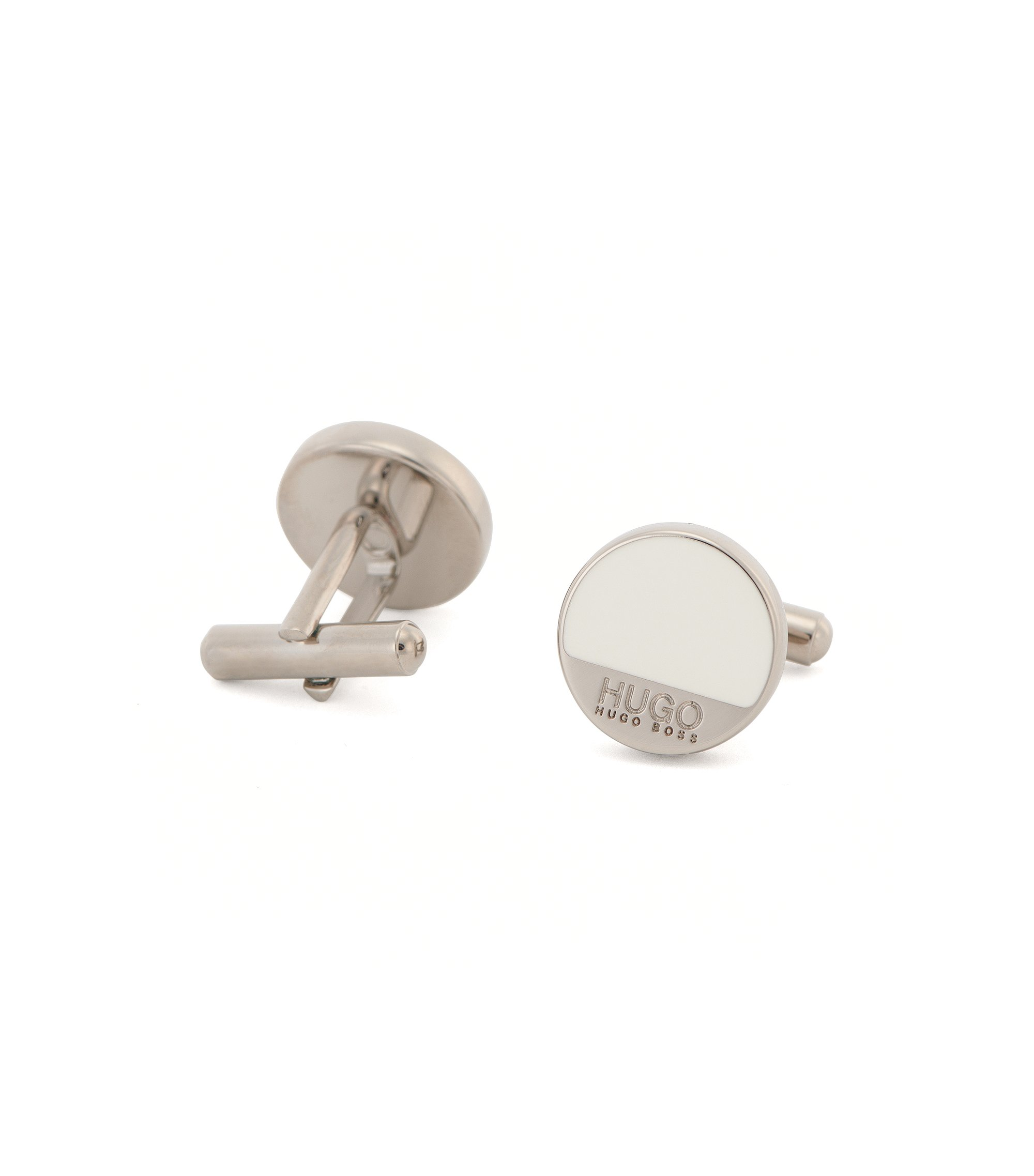 Round brass cufflinks with enamel detail, Open White