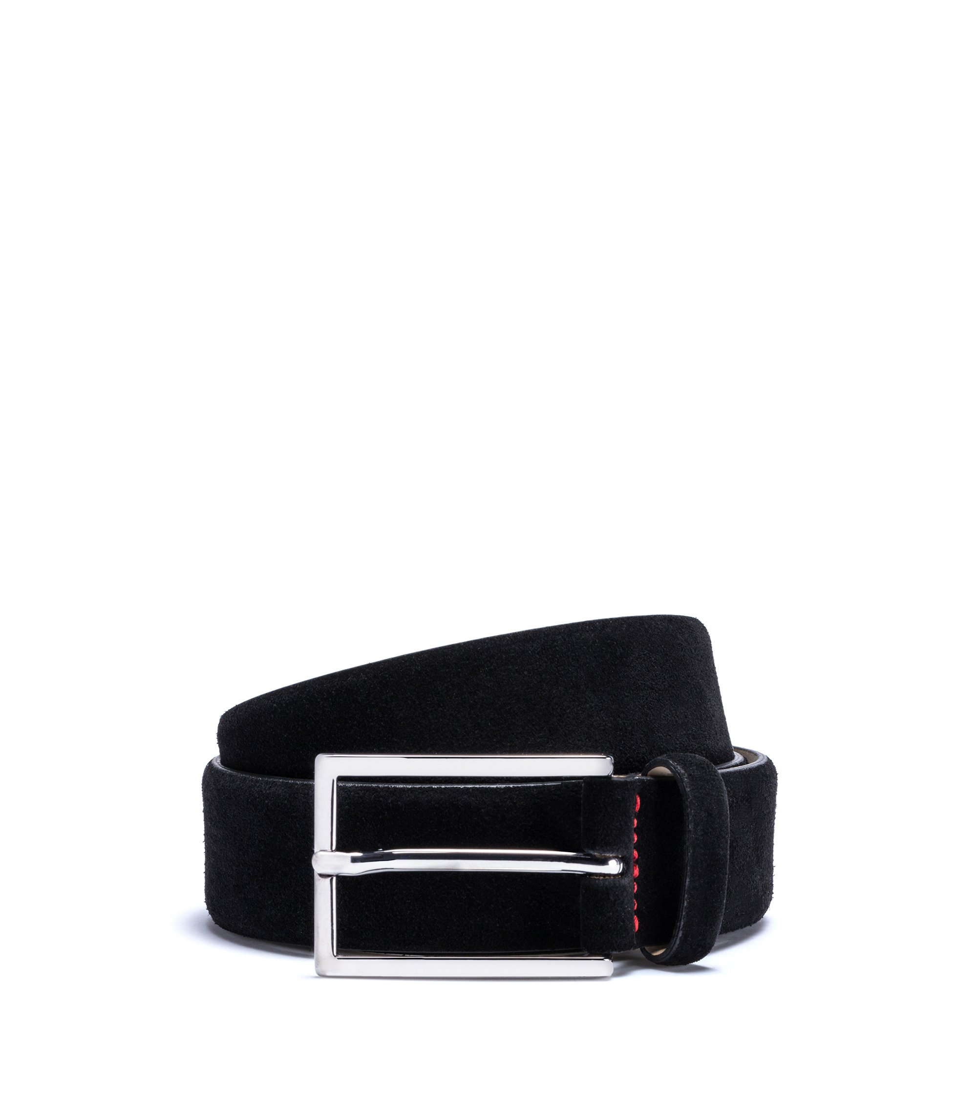 Suede belt with signature stitching, Black