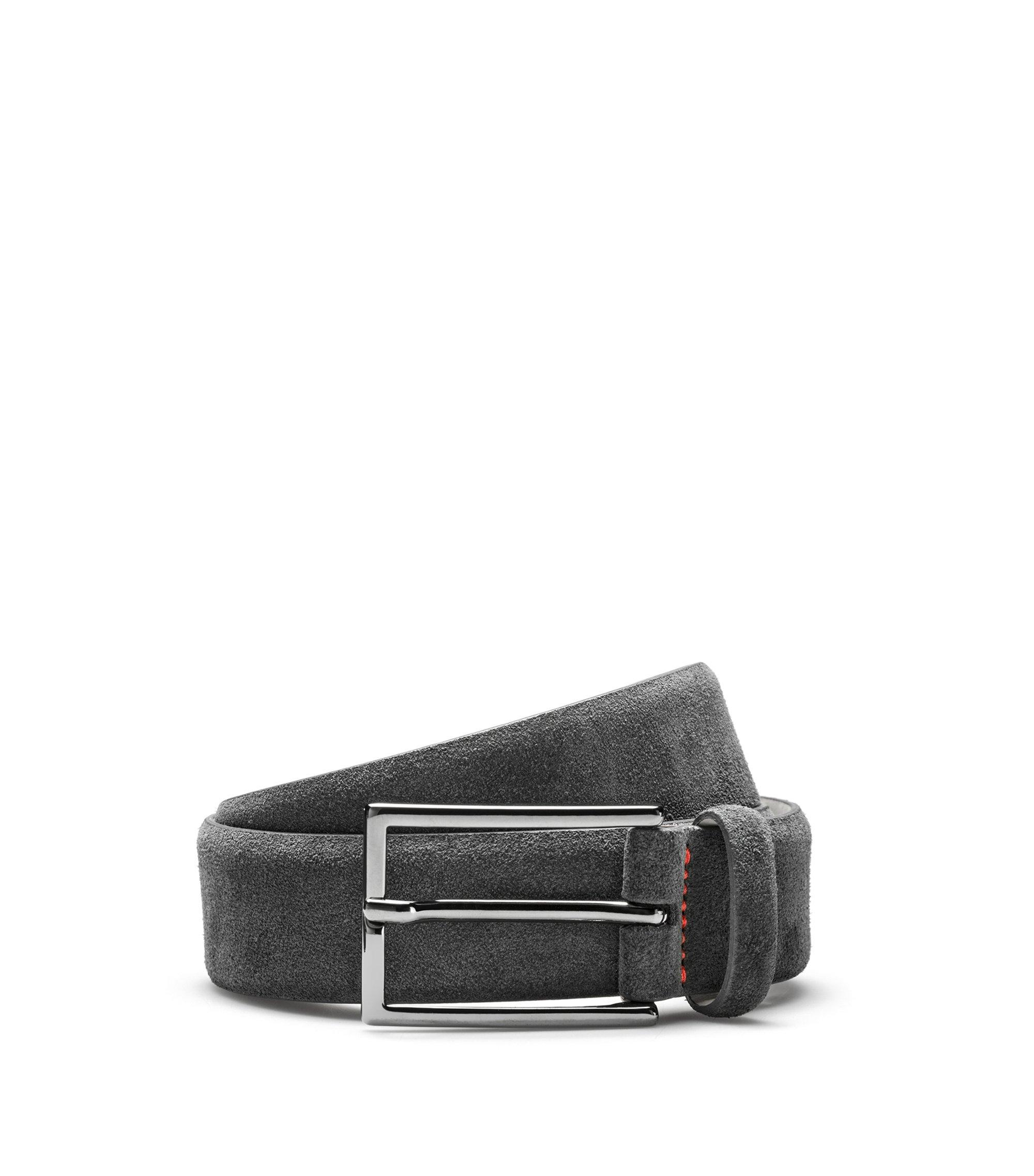 Cinturón de ante con costuras de la marca, Gris oscuro