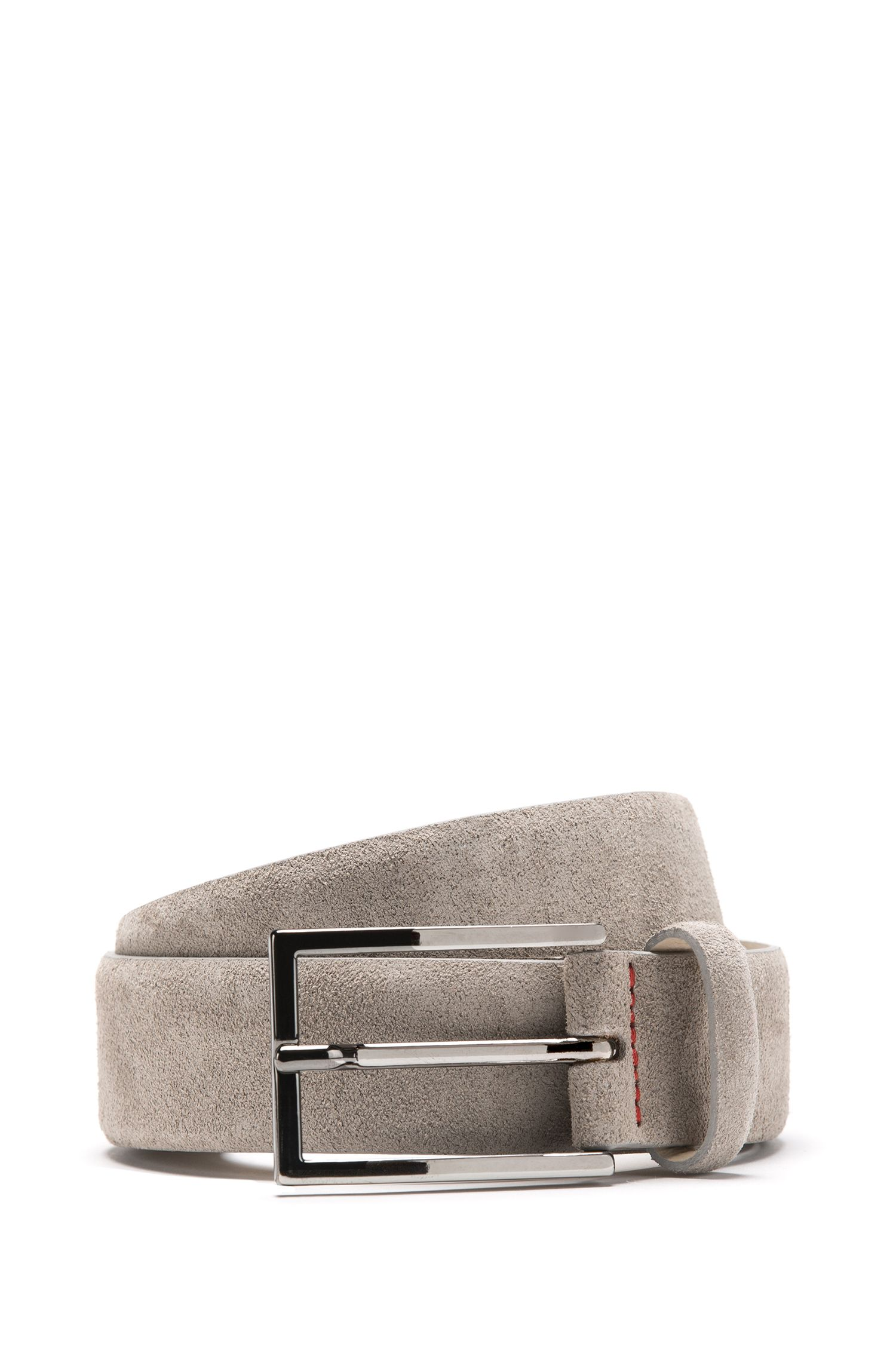 Suede belt with signature stitching, Light Grey