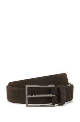 Suede belt with signature stitching, Dark Brown