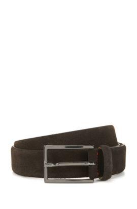 Suede belt with signature stitching, Dark Brown