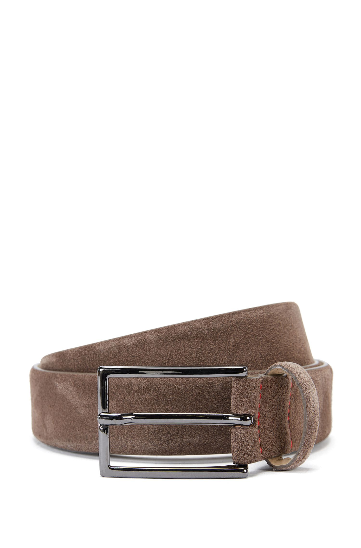 Suede belt with signature stitching