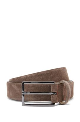 Suede belt with signature stitching, Khaki