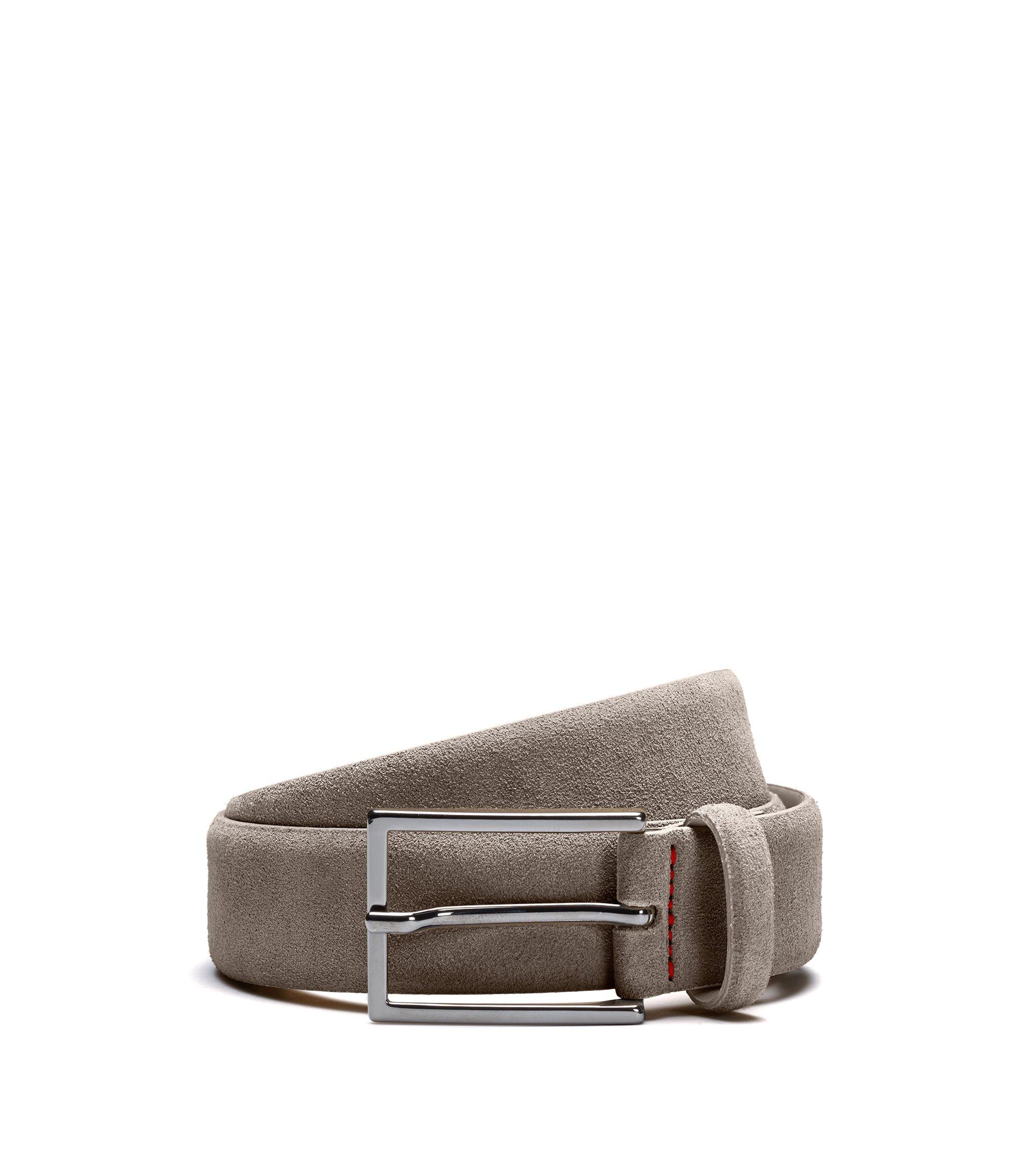 Gürtel aus Veloursleder mit charakteristischen Naht-Details, Khaki