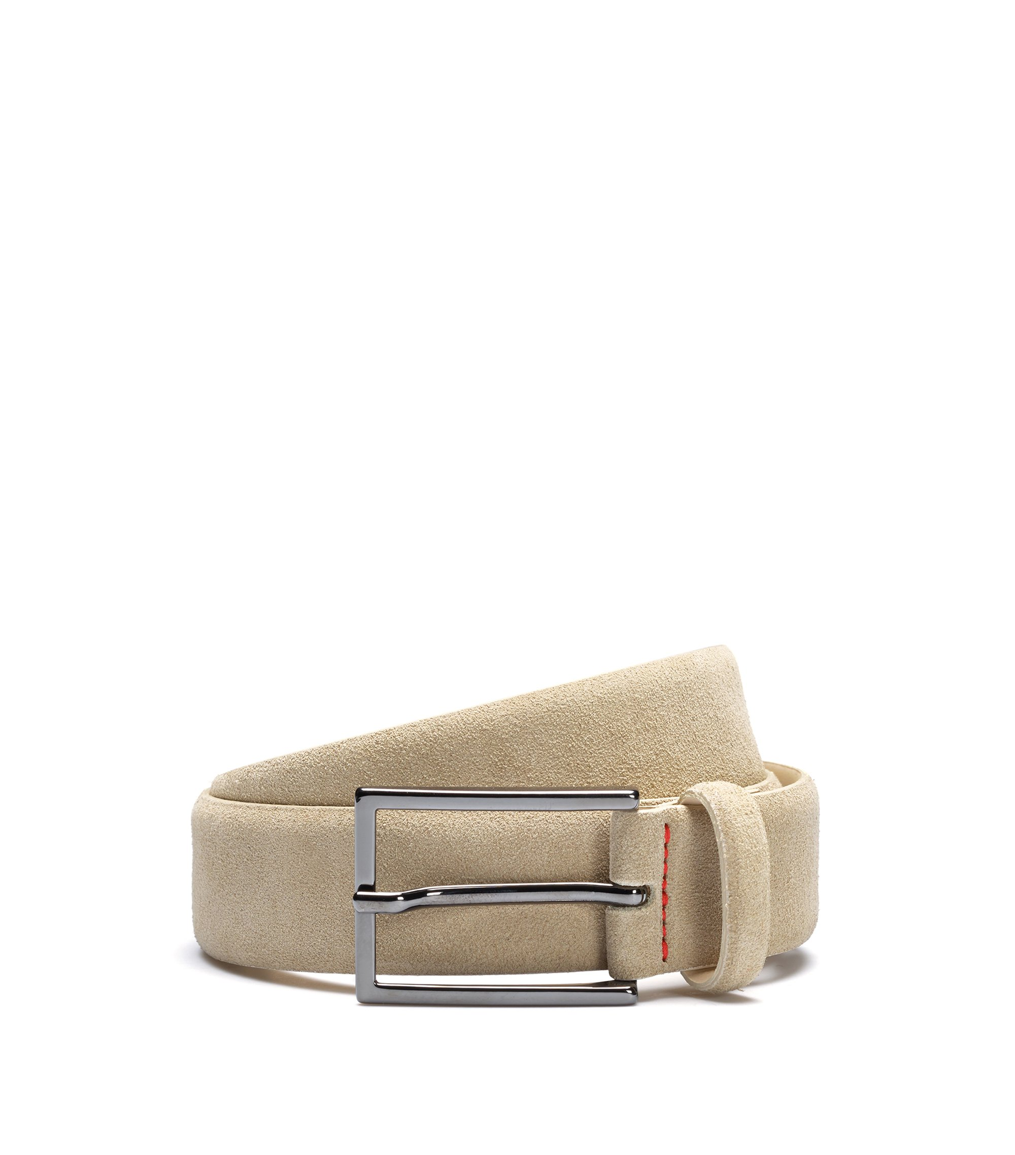 Suede belt with signature stitching, Light Beige