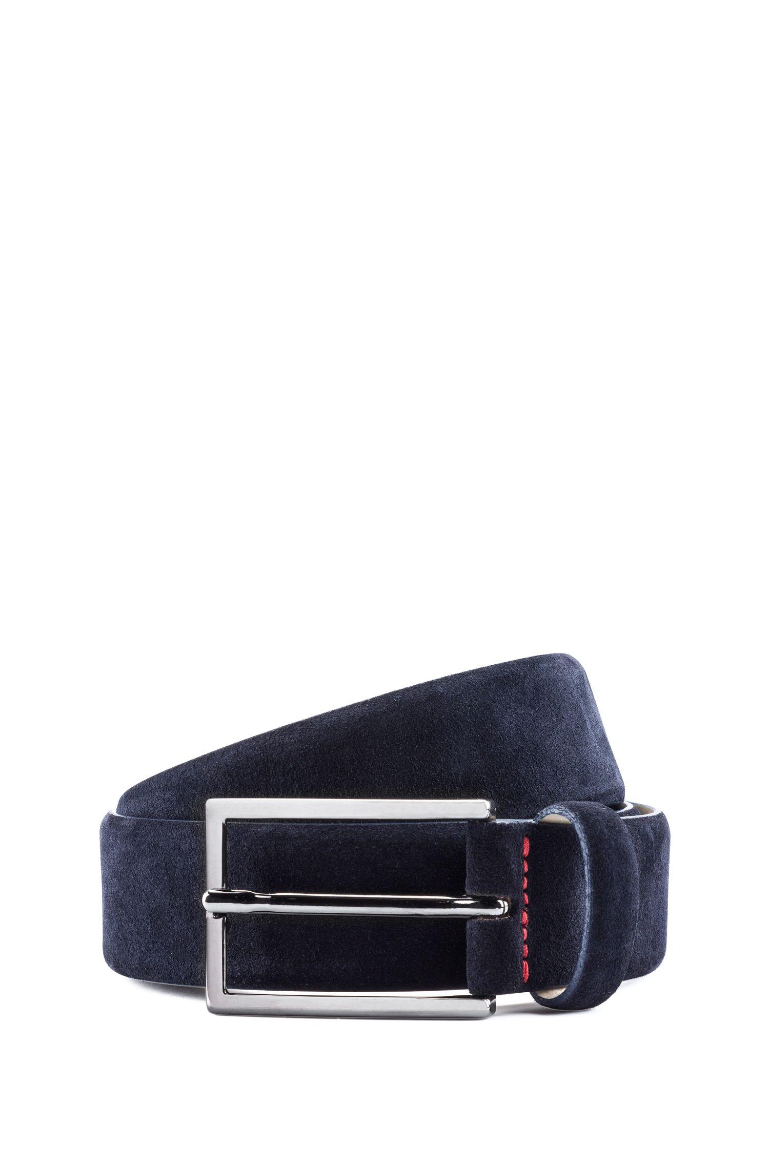 Suede belt with signature stitching, Dark Blue