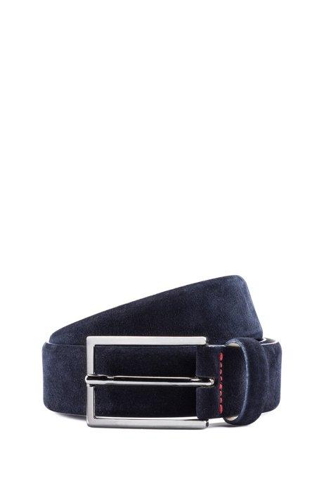 Cinturón de ante con costuras de la marca, Azul oscuro