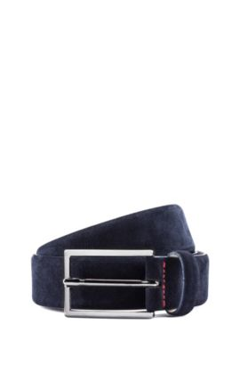 Suede belt with signature stitching, Dark Blue
