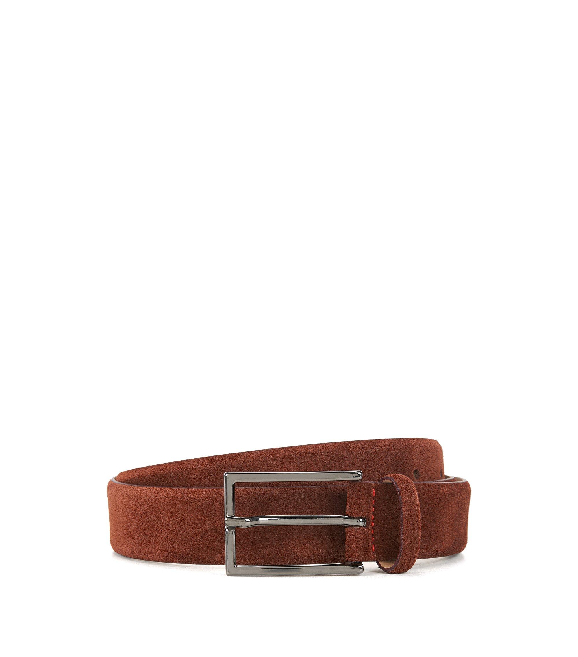 Cintura in pelle scamosciata con cucitura esclusiva, Rosso scuro
