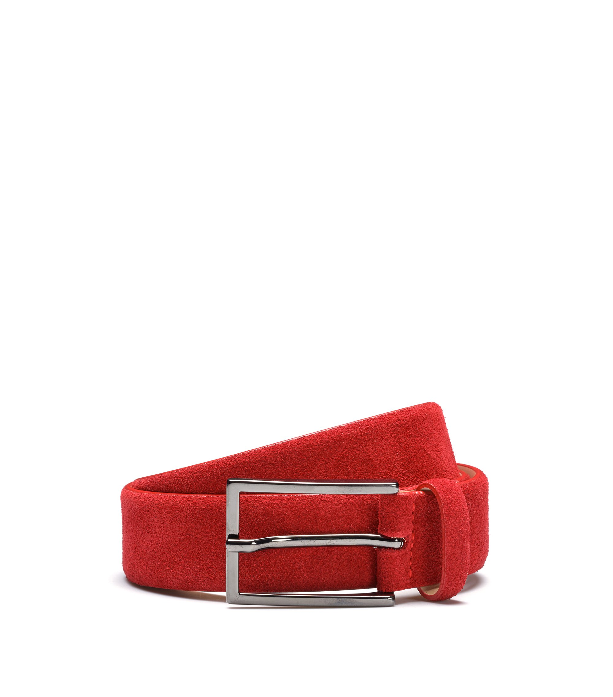 Suede belt with signature stitching, Red