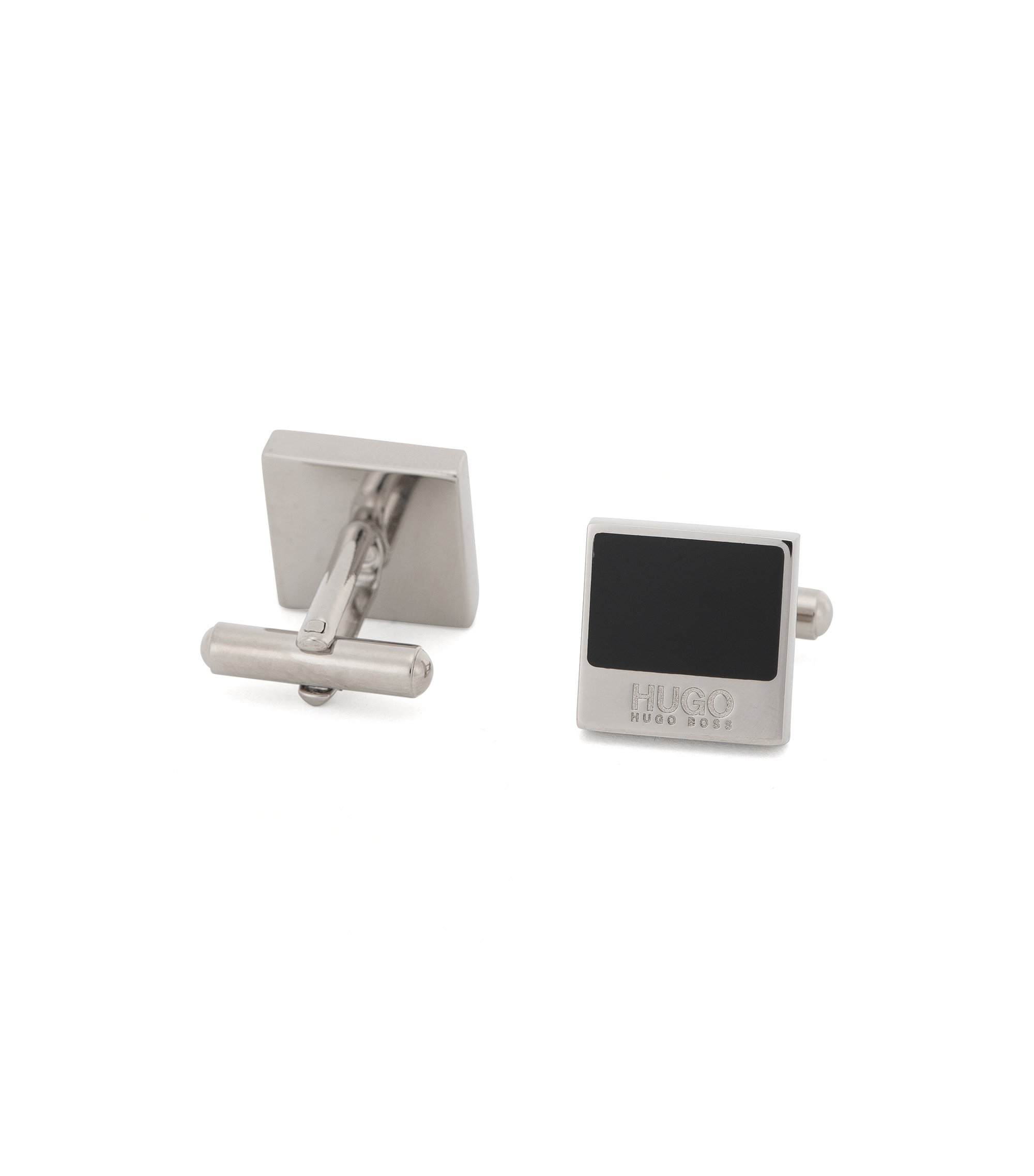Square cufflinks in brass with enamel trim: 'E-Quadro1', Black