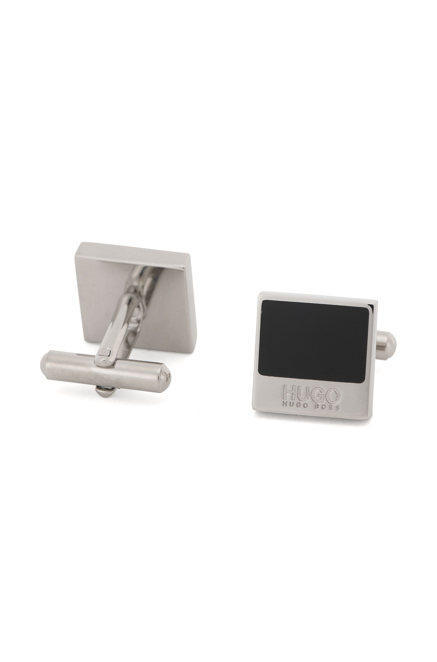 Square cufflinks in brass with enamel trim: 'E-Quadro1'
