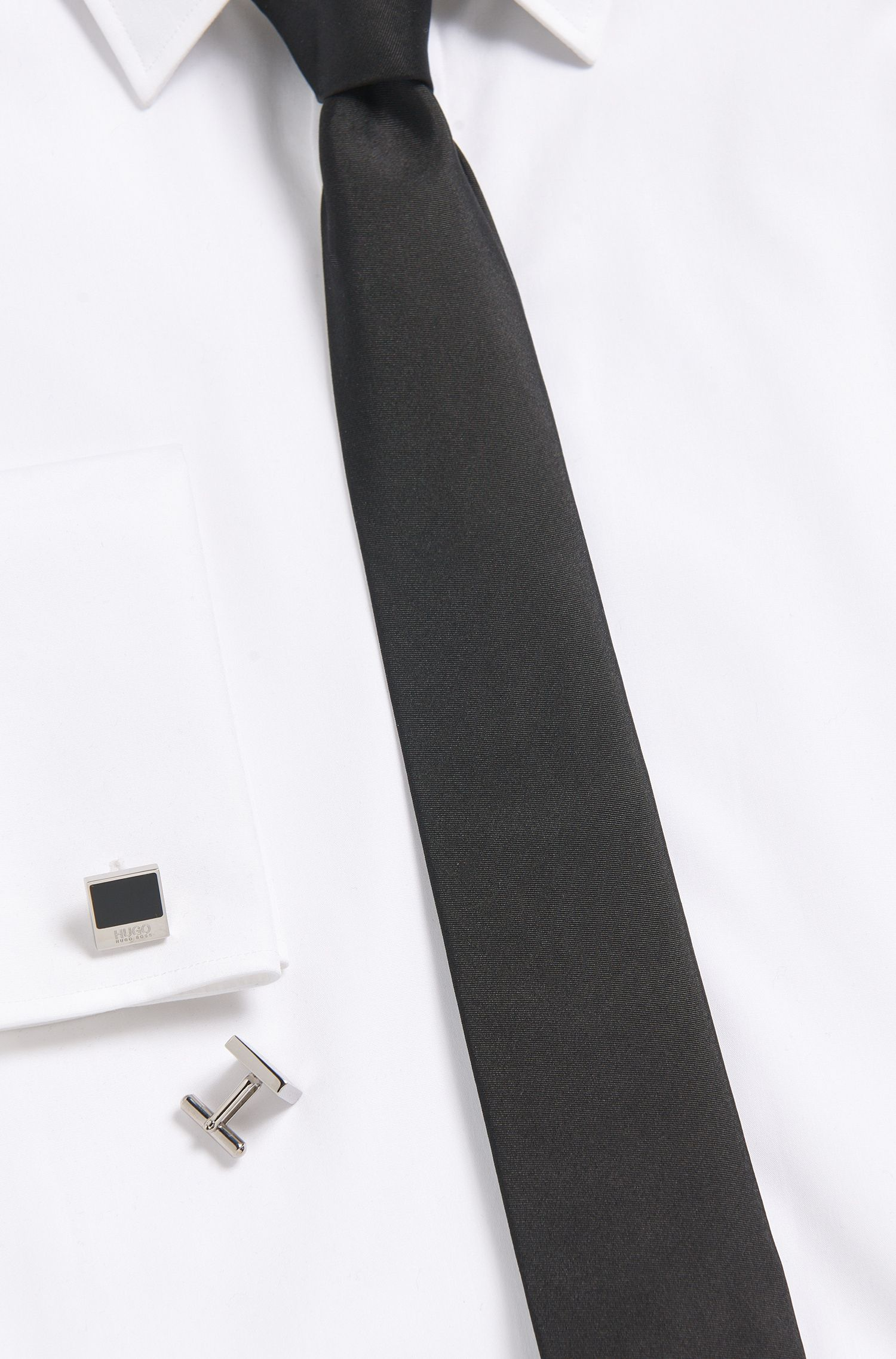 Gemelos cuadrados de latón con aplique de esmalte: 'E-Quadro1', Negro