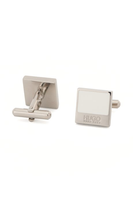 Square cufflinks in brass with enamel trim: 'E-Quadro1', Natural
