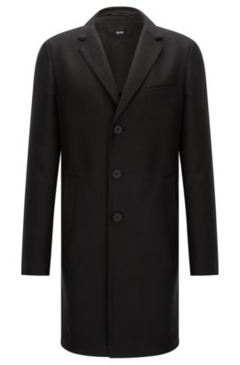 Water-repellent extra slim-fit coat in lyocell blend with cotton: 'Shawn3', Black
