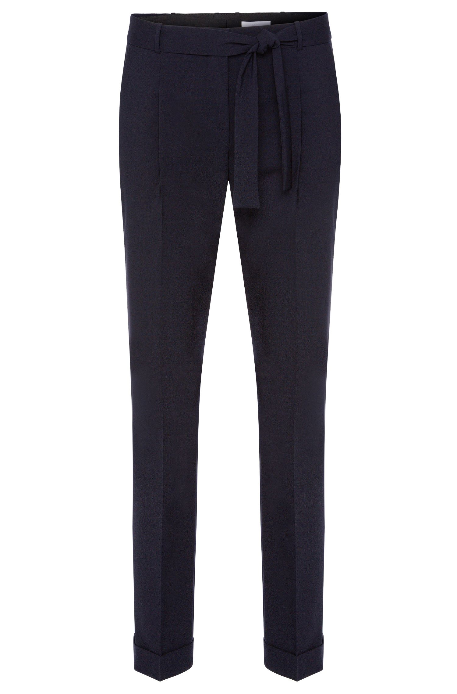 Pleat-front trousers in stretchy new wool with a wrap belt: 'Tilesa'